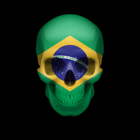 dying: Human skull with flag of Brazil. Threat to national security, war or dying out Illustration