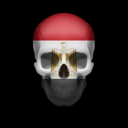 bandera de egipto: Cráneo humano con la bandera de Egipto. Amenaza a la seguridad nacional, la guerra o en vías de desaparición