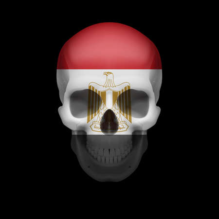 egypt flag: Human skull with flag of Egypt. Threat to national security, war or dying out