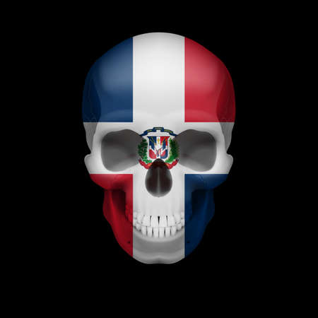 the threat: Human skull with flag of Dominican Republic. Threat to national security, war or dying out