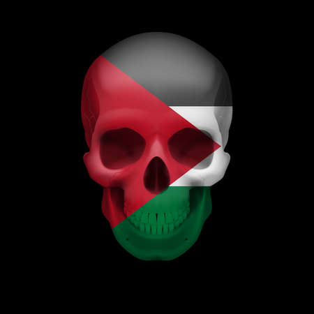 Human skull with flag of Palestine. Threat to national security, war or dying out