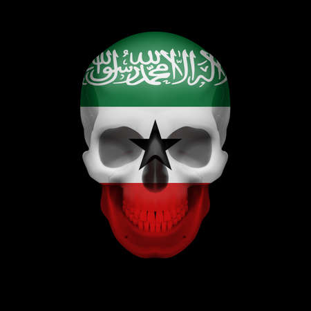somalian: Human skull with flag of Somaliland. Threat to national security, war or dying out Illustration
