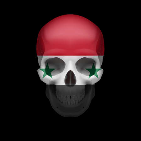 mortal: Human skull with flag of Syria. Threat to national security, war or dying out