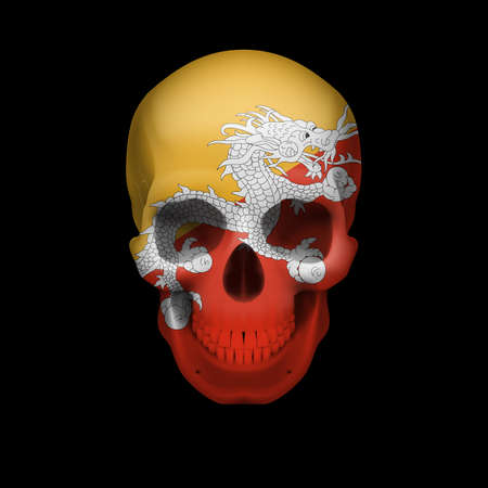 Human skull with flag of Bhutan. Threat to national security, war or dying out Vector