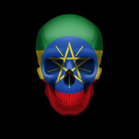 Human skull with flag of Ethiopia. Threat to national security, war or dying out Vector