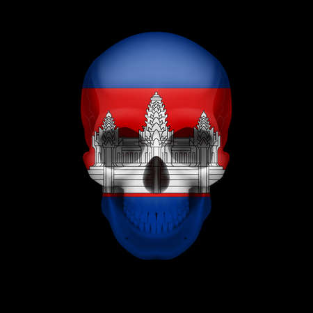 cambodian flag: Human skull with flag of Cambodia. Threat to national security, war or dying out