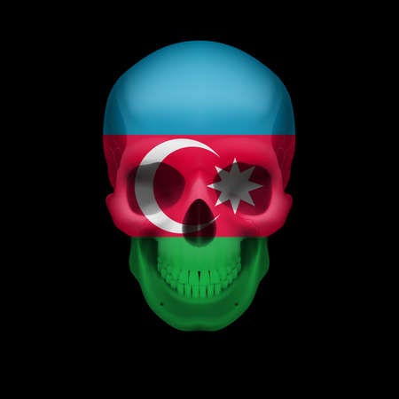 azerbaijanian: Human skull with flag of Azerbaijan. Threat to national security, war or dying out Illustration