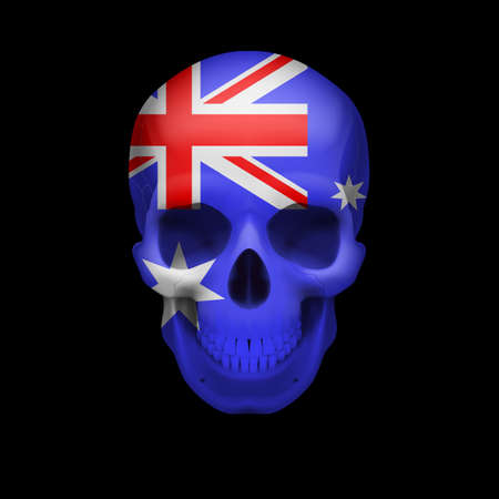 dying: Human skull with flag of Australia. Threat to national security, war or dying out
