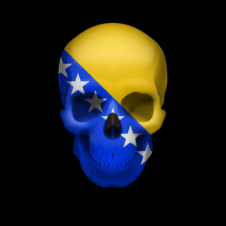 Human skull with flag of Bosnia and Herzegovina. Threat to national security, war or dying out Vector