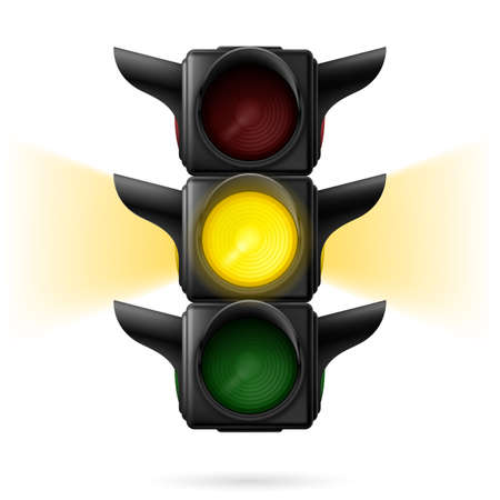 sidelight: Realistic traffic lights with yellow color on and sidelight. Wait signal. Illustration on white background Illustration