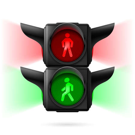 traffic signal: Realistic pedestrian traffic lights with red and green lamps on and sidelight. Illustration on white background