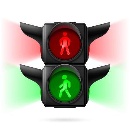 semaforo peatonal: Semáforos peatonales realistas con las luces rojas y verdes sobre y luz de posición. Ilustración sobre fondo blanco