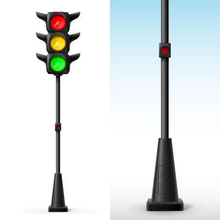 stop light: Traffic light with all colors on with button for pedestrians Illustration