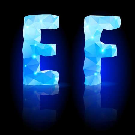 glisten: Блестящий синий многоугольной шрифта. Кристалл стиль E и F буквы с отражением на черный фон
