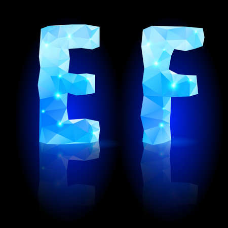 glistening: Shiny blue polygonal font. Crystal style E and F letters with reflection on black backround Illustration