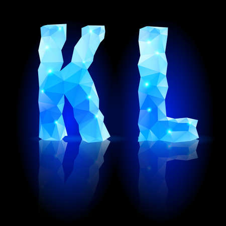 Shiny blue polygonal font. Crystal style K and L letters with reflection on black backround Vector
