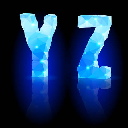Shiny blue polygonal font. Crystal style Y and Z letters with reflection on black backround Vector