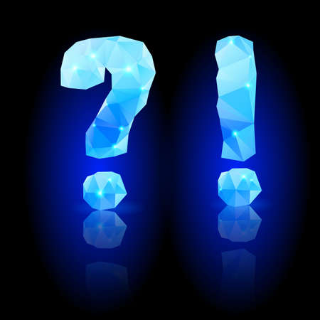 exclamatory: Shiny blue polygonal font. Crystal style question and exclamation marks with reflection on black backround