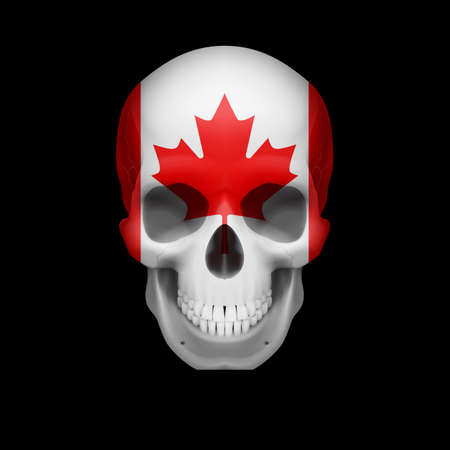 threat: Human skull with flag of Canada. Threat to national security, war or dying out