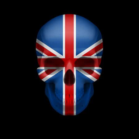 bandera de gran bretaña: Cráneo humano con la bandera de Gran Bretaña. Amenaza a la seguridad nacional, la guerra o en vías de desaparición
