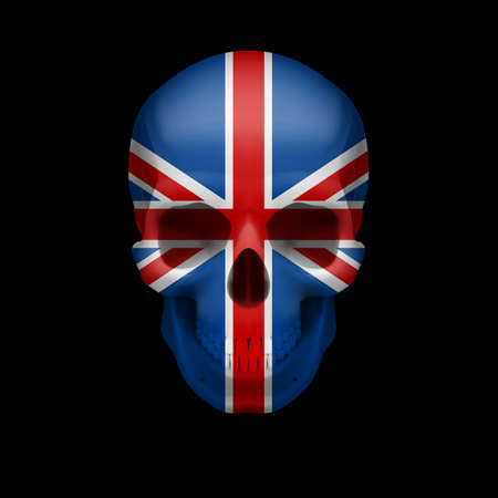 britain flag: Human skull with flag of Great Britain. Threat to national security, war or dying out Illustration