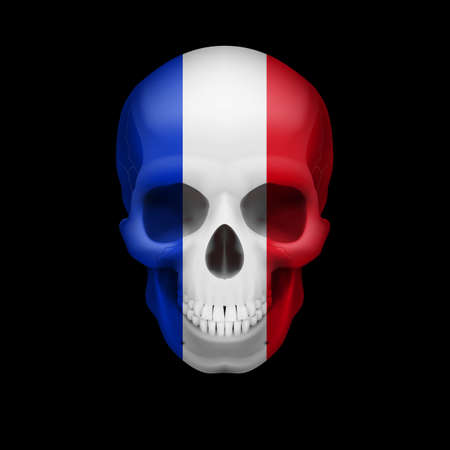 the threat: Human skull with flag of France. Threat to national security, war or dying out Illustration