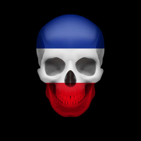 dying: Human skull with flag of Yugoslavia. Threat to national security, war or dying out Illustration