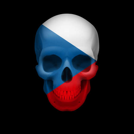 Human skull with flag of Czech Republic. Threat to national security, war or dying out Vector