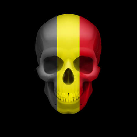 Human skull with flag of Belgium. Threat to national security, war or dying out Vector