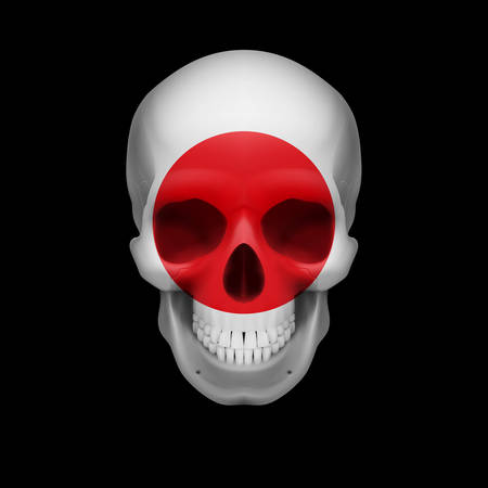 skull cranium: Human skull with flag of Japan. Threat to national security, war or dying out
