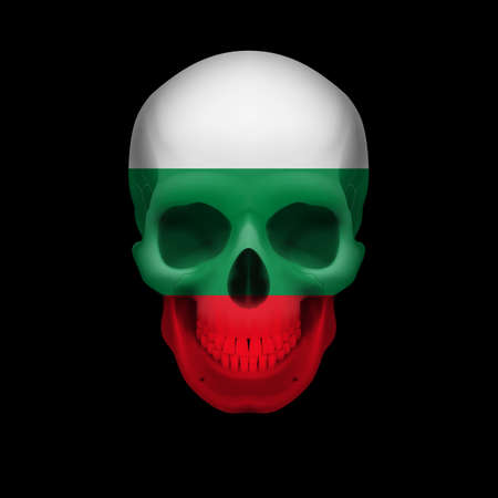 dying: Human skull with flag of Bulgaria. Threat to national security, war or dying out