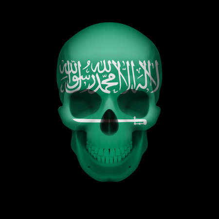 Human skull with flag of Saudi Arabia. Threat to national security, war or dying out Vector