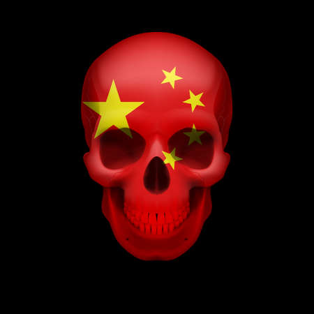 mortal danger: Human skull with flag of China. Threat to national security, war or dying out Illustration