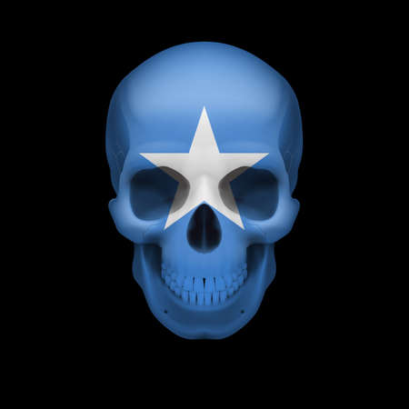 somalian: Human skull with flag of Somalia. Threat to national security, war or dying out Illustration