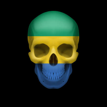 gabon: Human skull with flag of Gabon. Threat to national security, war or dying out