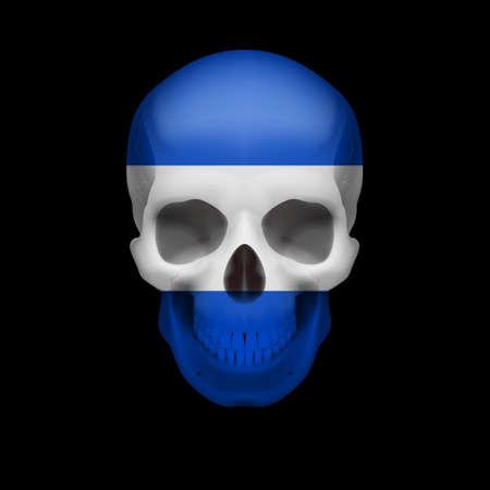 bandera de el salvador: Cráneo humano con la bandera de El Salvador. Amenaza a la seguridad nacional, la guerra o en vías de desaparición