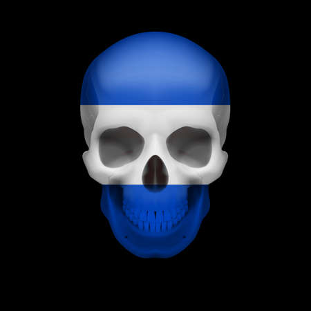 threat: Human skull with flag of El Salvador. Threat to national security, war or dying out