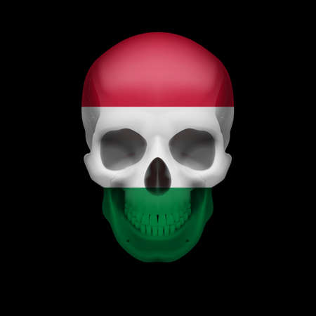 Human skull with flag of Hungary. Threat to national security, war or dying out Vector