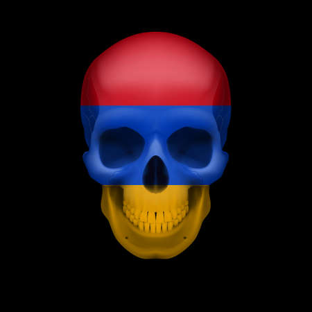 armenia: Human skull with flag of Armenia. Threat to national security, war or dying out Illustration
