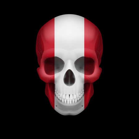 bandera de peru: Cráneo humano con la bandera de Perú. Amenaza a la seguridad nacional, la guerra o en vías de desaparición Vectores