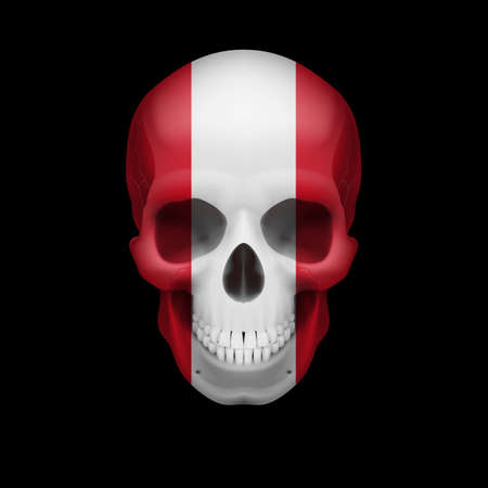 mortal: Human skull with flag of Peru. Threat to national security, war or dying out