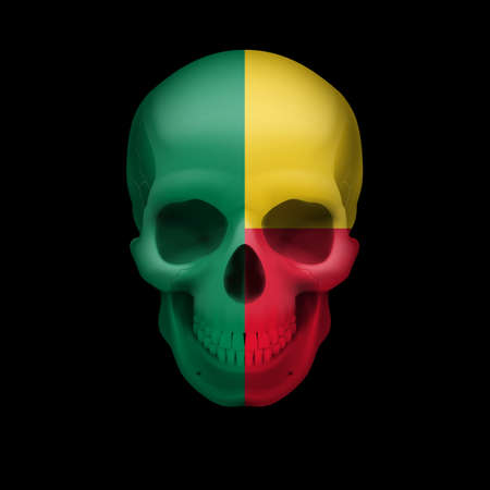 Human skull with flag of Benin. Threat to national security, war or dying out Vector