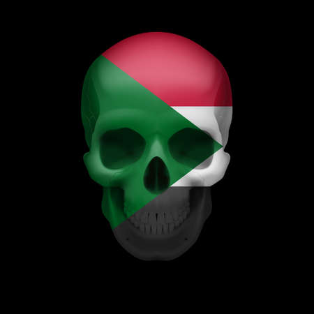 dying: Human skull with flag of Sudan. Threat to national security, war or dying out Illustration
