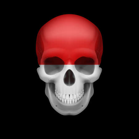 threat: Human skull with flag of Monaco. Threat to national security, war or dying out Illustration