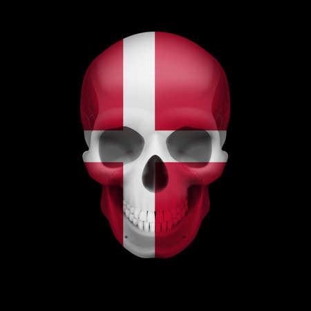 dying: Human skull with flag of Denmark. Threat to national security, war or dying out