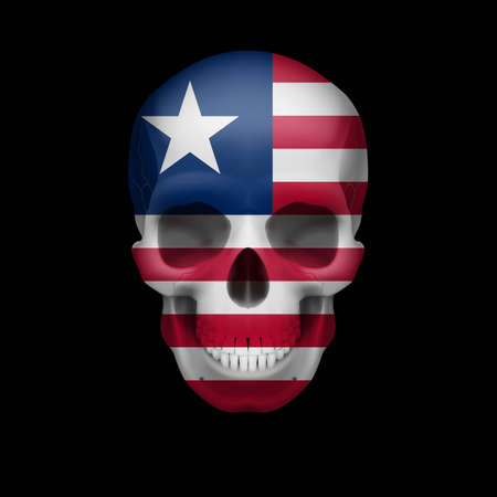 skull cranium: Human skull with flag of Liberia. Threat to national security, war or dying out