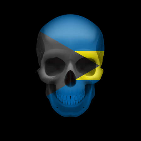 Human skull with flag of Bahamas. Threat to national security, war or dying out Vector