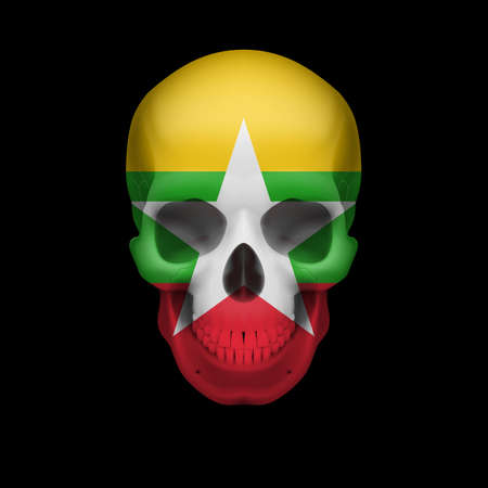 Human skull with flag of Myanmar. Threat to national security, war or dying out Vector