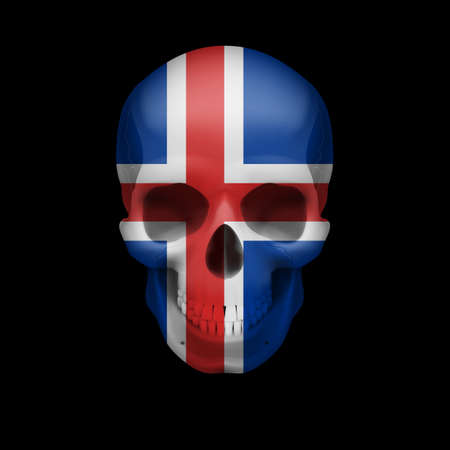Human skull with flag of Iceland. Threat to national security, war or dying out Illustration