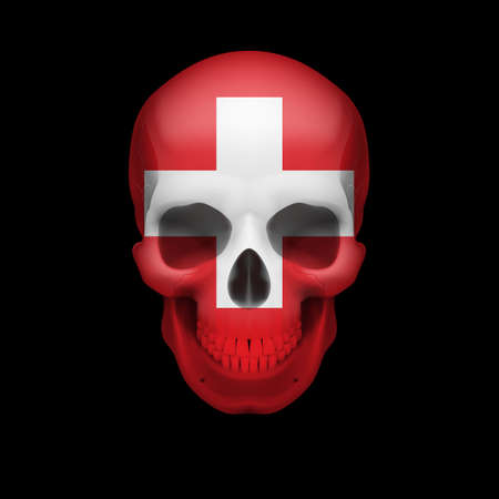 Human skull with flag of Switzerland. Threat to national security, war or dying out Vector